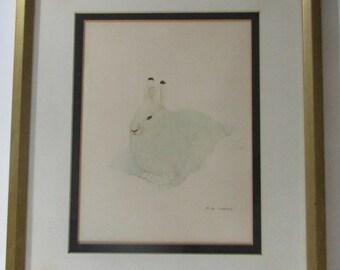 M G Loates Snow Bunny Print