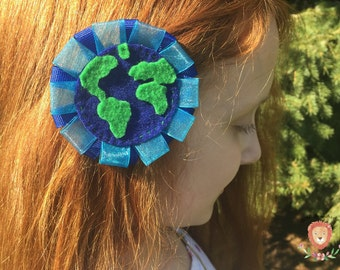 Earth Hair Clip, Outer Space Hair Clip, Earth Day Hair Clip, Girls Hair Clip, Baby Hair Clip, Earth Hair Accessories