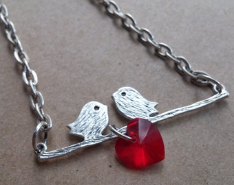 Double Lovebird Charm Necklace, with Red Swarovski Heart Bead