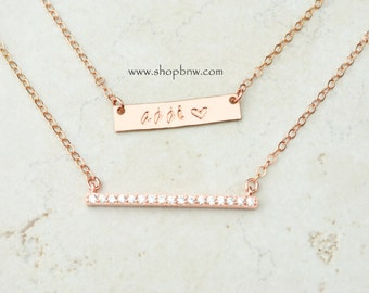 Diamond Bar Necklace Set  / Personalized Bar Necklace / Mini Bar Necklace / Gold, Silver, Rose Gold / Bridesmaid Gift  LA102 + LA141