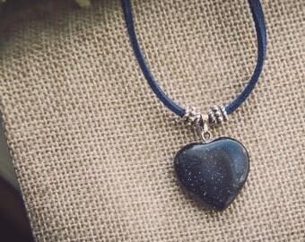 Blue aventurine heart necklace