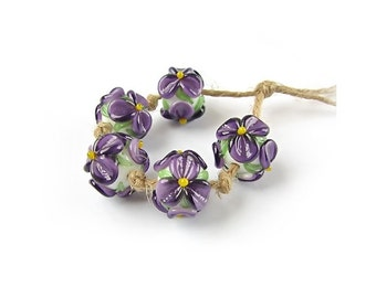 Lampwork Beads, Handmade Glass Bead Set, Floral Lampwork, Murano Glass, Murano Beads, Flower Beads, Purple, art beads