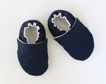 Navy Blue Canvas Baby Shoes, Toddler Shoes, Baby Booties, Boy, Girl, Gender Neutral, Soft Soled
