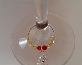 Pack of 2 : Inspired by Disney's Beauty and the Beast wine / champagne charms