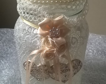 Wedding Collectibles/ Lace covered glass storage wedding keepsake with pretty bow & embellishments