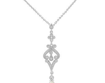 Vintage Droplet Necklace, Bridal Necklace, Bridal accessories, Ivory Pearl Necklace, vintage necklace, bridal jewellery