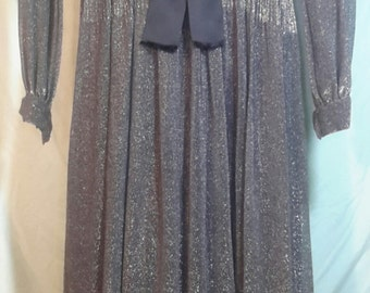 70s floor length silver and black dress with Diamond cut neckline and sheer sleeves, size med