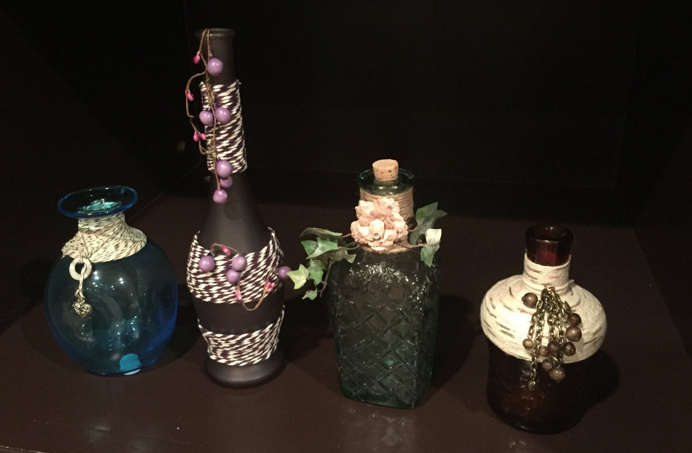 Decorated Glass Bottles Colored Glass Bottles Vintage