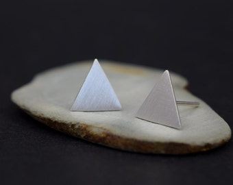 Triangle Stud Earrings - Geometric Stud Earrings - Silver Studs - Triangle Studs - UK Handmade