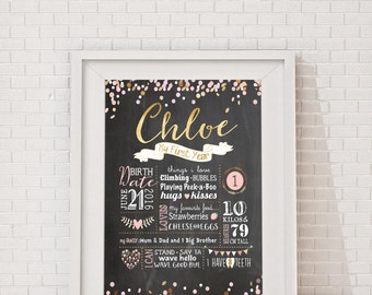First Birthday Chalkboard Poster - Pink & Gold Confetti Birthday, Milestone Board, Baby Girls 1st birthday party sign, Customised, Printable