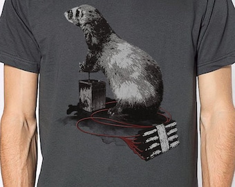 Ferret and dynamite t-shirt - animal t-shirt - graphic t-shirt