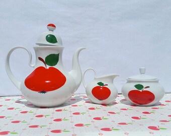 Coffee pot / Milk pot / Sugar pot German Vintage Bavaria / Apple pattern / Retro / Seventies /