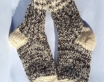 Hand knitted 100% Wool Socks / warm white brown socks / Christmas sock