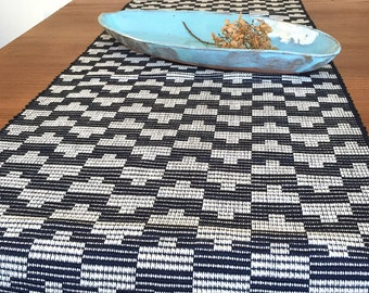 Tetro table runner - handwoven geometric pattern in navy and ivory