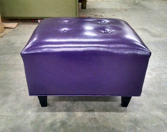 Purple Upholstered Ottoman- Vegan Leather- Upholstered coffee table, footstool, bench~ Design 59 Inc