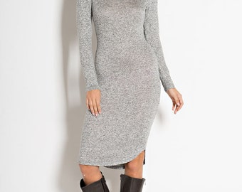 D803 Knee Length Long Sleeve V Neck Sweater Knit Shirt Tail Hem Bodycon Dress (Made in USA)