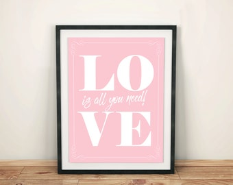 LOVE poster: 'LOVE... is all you need!' Romantic wall art print.