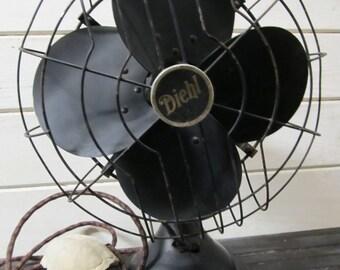 SALE: Industrial Diehl Fan, Black Metal Fan, Vintage Diehl Fan (working)