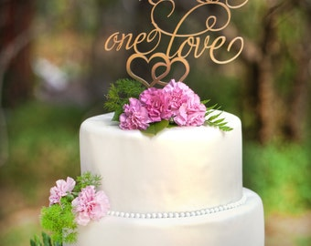 Wedding Cake Topper  Two Hearts One Love