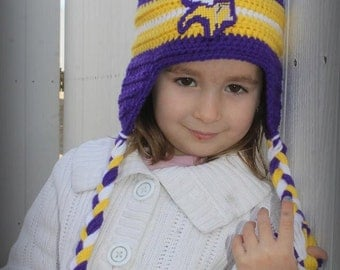 Warm FOOTBALL Hats, Kids Football Hat, Teen football hat, VIKINGS football inspired (Handmade by me and not affiliated with the NFL)