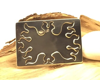 Sterling Silver Flame Belt Buckle