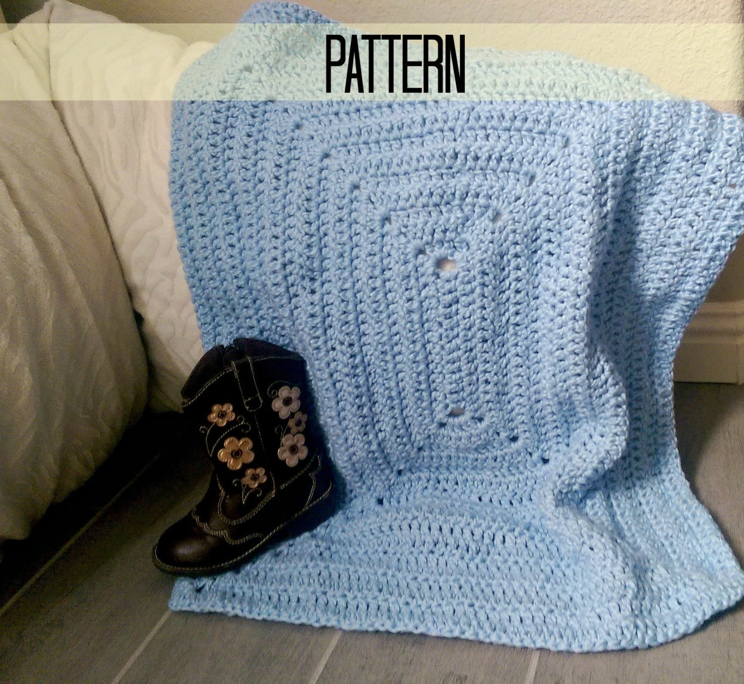 Crochet Baby Blanket Pattern Granny Square Crochet by MYandGG