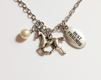 silver horse necklace - horse charm - best friend necklace - bff necklace - friendship necklace - animal necklace - best gift