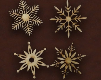 CHRISTMAS SNOWFLAKES SET of 4 unpainted laser cut christmas ornaments wooden snowflakes winter craft christmas decor snowflakes blank