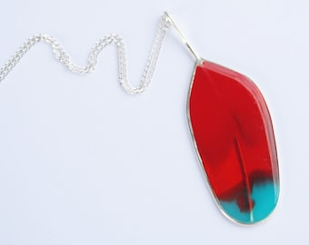Resin and Sterling Silver Feather Pendants