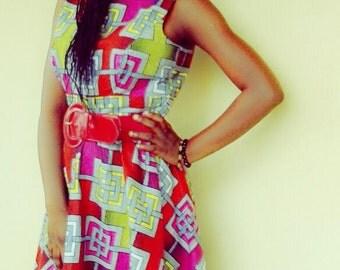 African /Wax print/ Anakara Dress Vintage Style