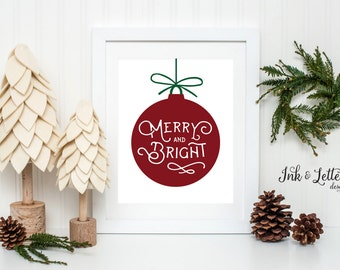 Merry and Bright Sign - Christmas Art Print - Christmas Wall Art - Holiday Home Decor - Christmas Decorating Ideas - Instant Download - 8x10