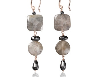 Earrings in silver and Labradorite