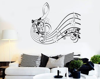 Wall Vinyl Music Notes Clef Flower Floral Guaranteed Quality Decal 1510dz