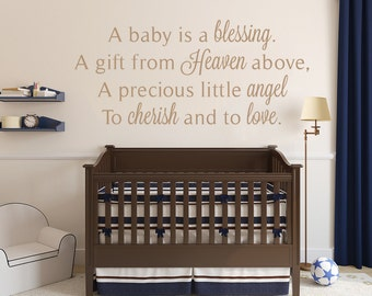 A Baby is a Blessing Wall Sticker, Gorgeous Nursery Wall Decal, Vinyl Wall Art