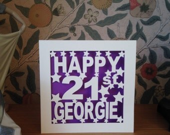 Papercut - Personalised Happy 1st 13th 16th 18th 21st 30th 40th 50th 60th 70th  75th 80th 90th 100th Birthday Card
