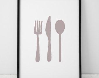 Kitchen Utensils Illustration INSTANT DOWNLOAD, Kitchen Printable, Kitchen, Spoon, Knife, Fork, Kitchen Art, Digital Illustration Printable