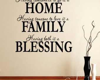 Home Family Blessing / Inspirational wall phrases / home décor / wall decal / living room / dining / accents and embellishments / vinyl