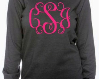 Glitter Long Sleeve Monogrammed T-Shirt