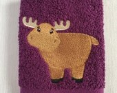 Moose Facecloth - Machine Embroidered Facecloth - Washcloth - Flannel - Handmade gifts for children - Birthday Gifts - Christmas Gifts
