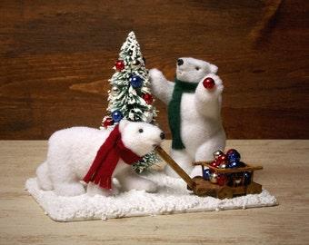 """Polar Bears """"Decorating Christmas Tree"""""""