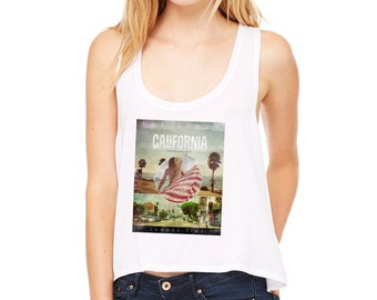 California Crop Top America Holiday Festival Boxy Cropped Tank Vest