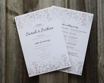 Printable Wedding Program - Floral Rustic Wedding