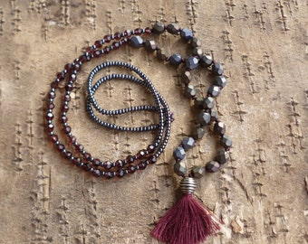 Blackberry Necklace. Long tassel necklace. Mala necklace. Beaded tassel necklace. Boho Hippie.