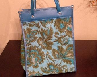 Vintage 60s Floral Tote Handbag