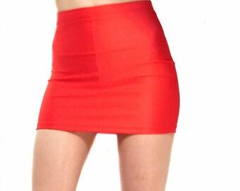 High waisted shiny red spandex mini skirt