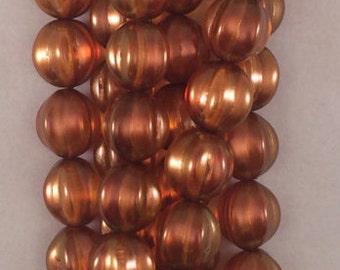 Melon Beads, 14mm,Patina, 287-14-79233, 8 Beads, Czech Glass