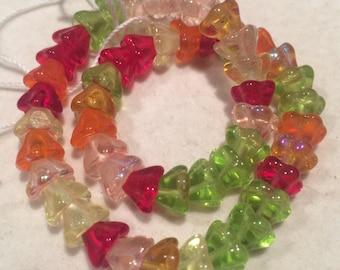 Flower Beads, 6x8mm, Tango Mix, FLW68MIX19, 50 Beads, Czech Glass