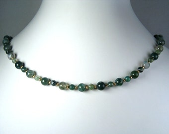 """Moss Agate Necklace Gold 18"""""""