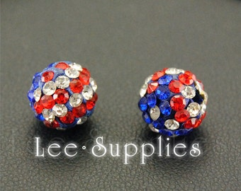 10mm America Flag Polymer Clay Rhinestone Crystal Pave Disco Ball Beads B10-38