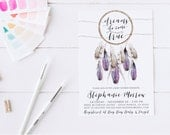 Boho Baby Shower Invitation, Dream Catcher, Feather, Tribal Baby Shower Invites [113f]